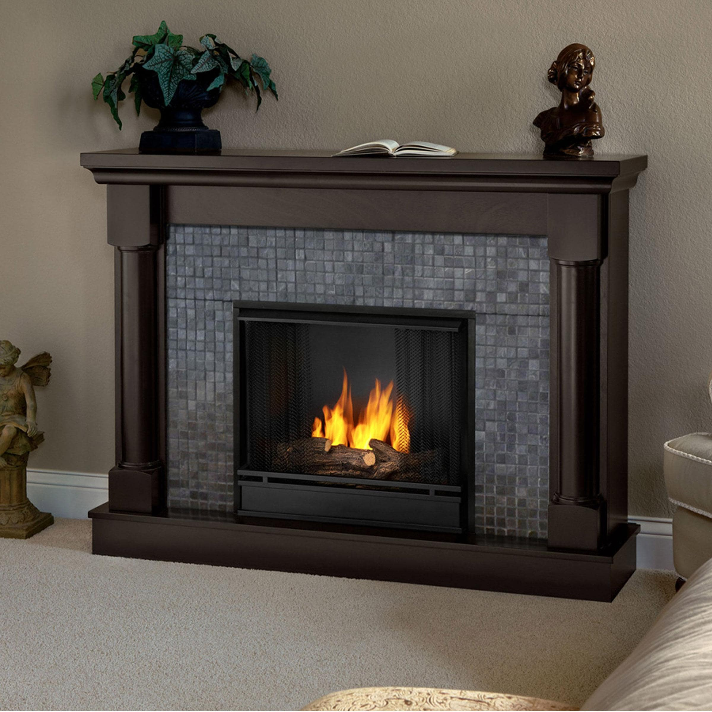 Real Flame Bennett Dark Walnut Gel Fuel Fireplace