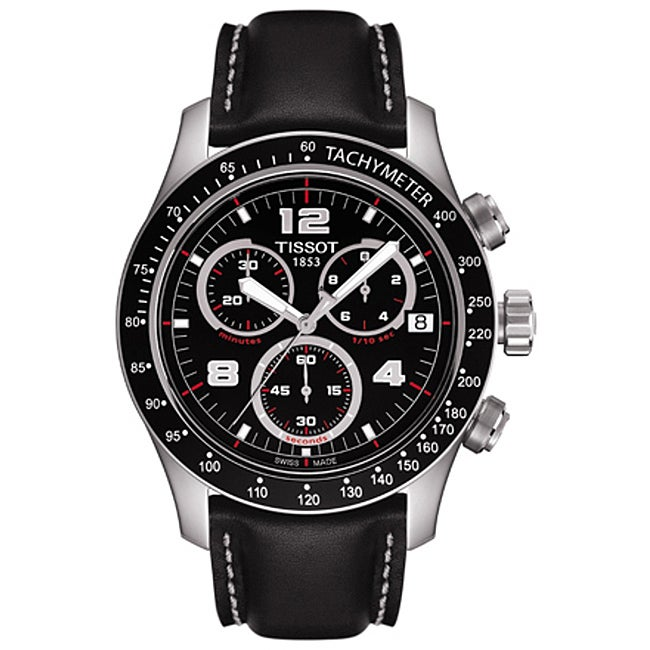 Tissot Men's 'V8' Black Chronograph Dial Watch - Thumbnail 0