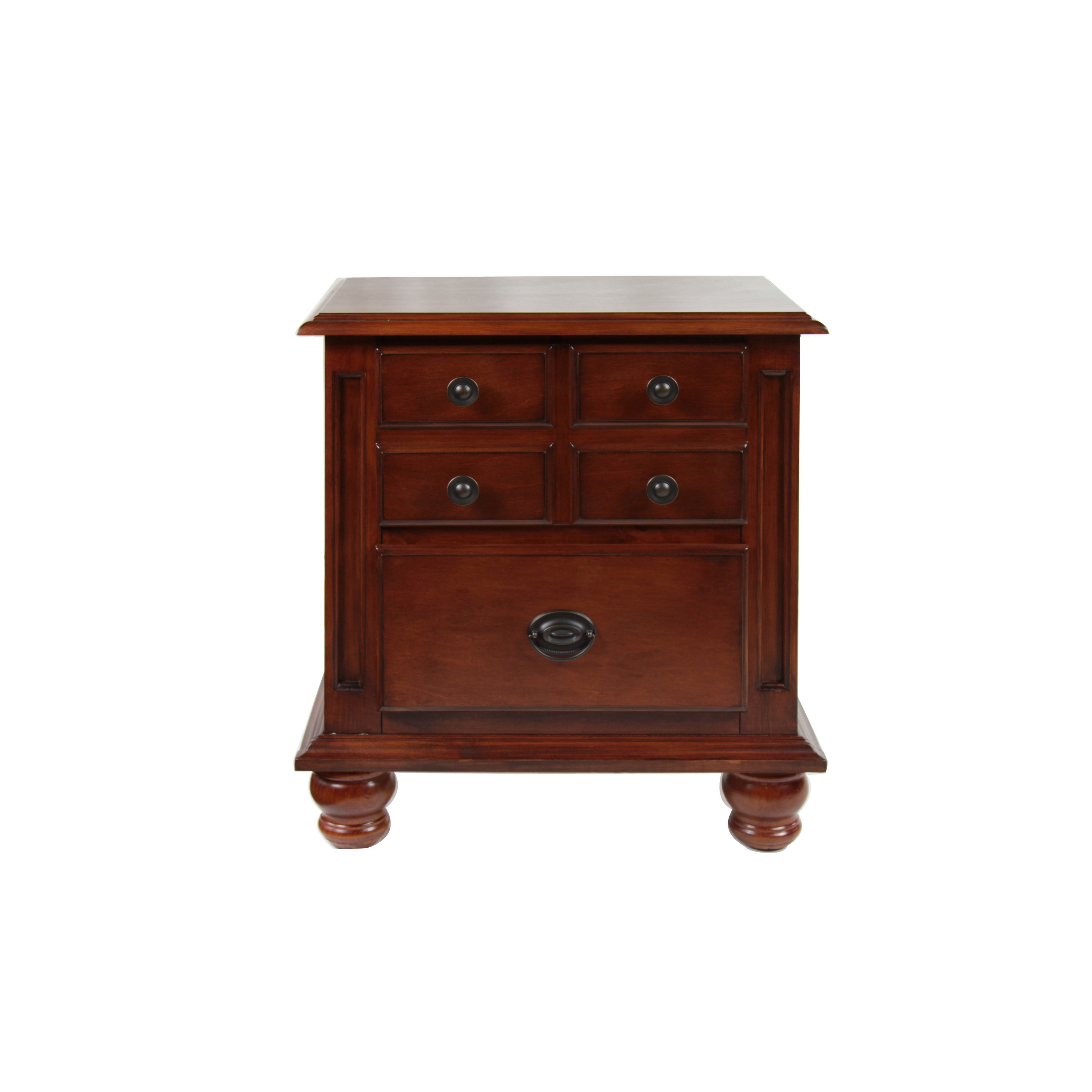 Furniture Of America Gabrielle Dark Cherry Solid Wood Nightstand Dark Cherry