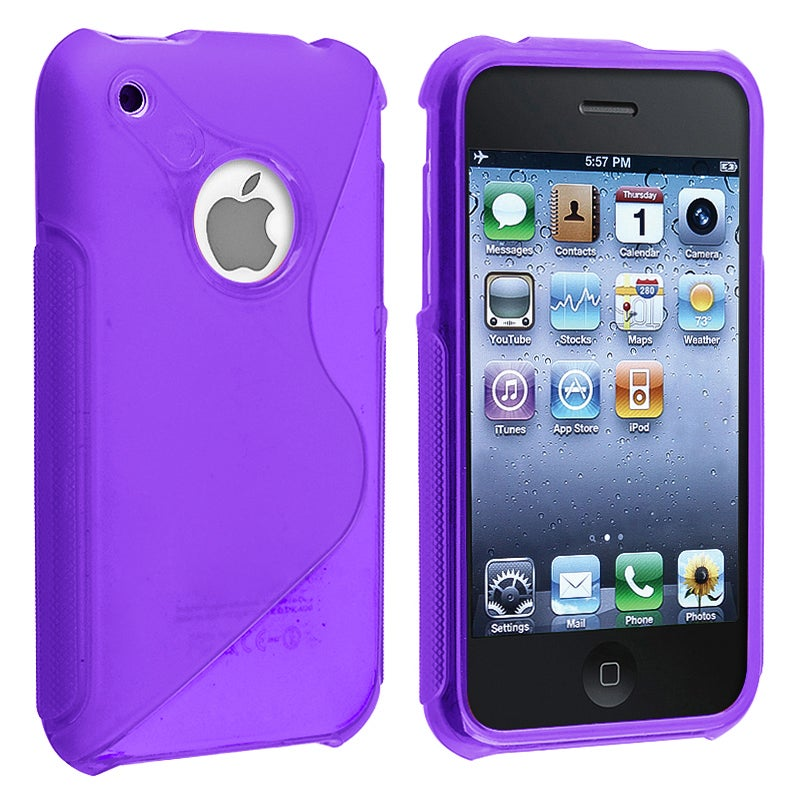 Dark Purple S Shape TPU Rubber Skin Case for Apple iPhone 3G/ 3GS