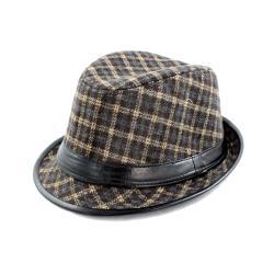 Faddism Brown/ Beige Plaid Fedora Hat