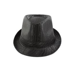Faddism Textured Black Fedora Hat - Thumbnail 1