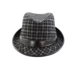 Faddism Black/ Grey Patterned Fedora Hat