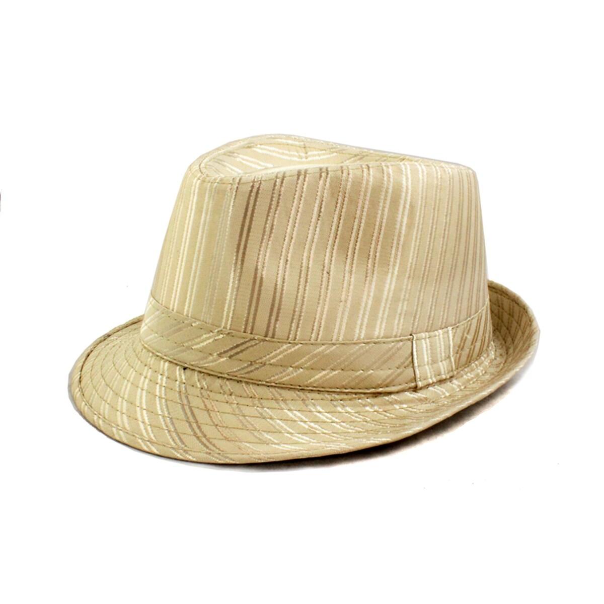 Faddism Beige Stripe Banded Fedora Hat