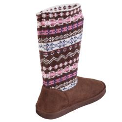 Journee Collection Kids Fair Isle Knit Sweater Boots