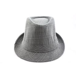 Faddism Grey/ White Fedora Hat - Thumbnail 1