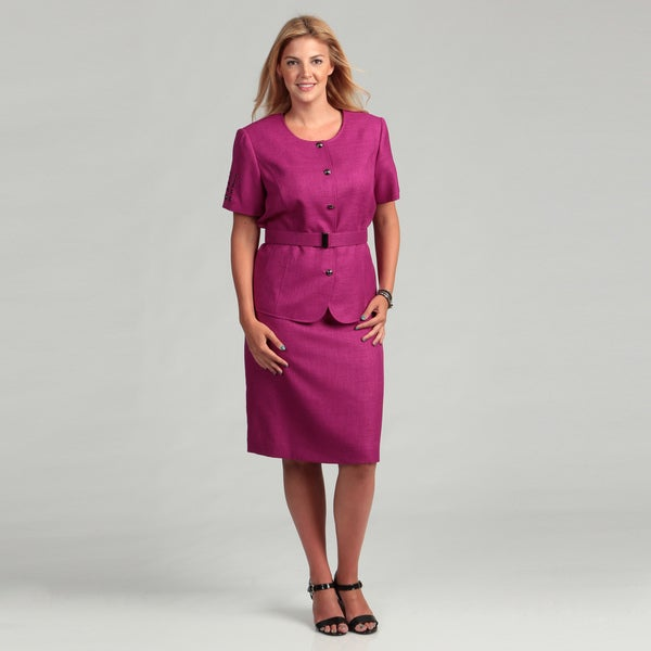 Tahari ASL Women's Plus Size Short-sleeve Round Neck 2-piece Skirt Suit
