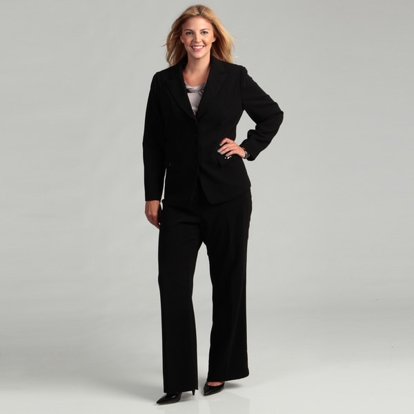Tahari Women's Plus Size 4-button Jacket Pant Suit