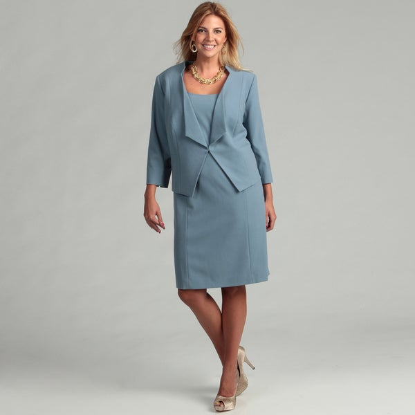 Tahari Women's Plus Size Paris Blue 2-piece Dress