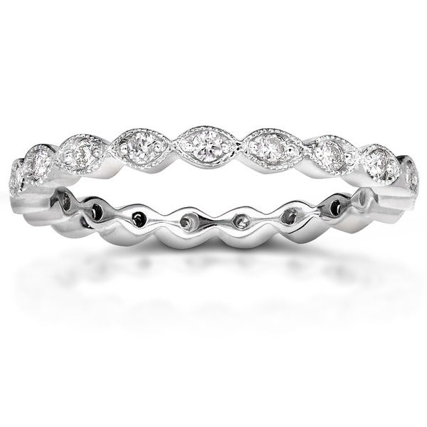 Annello by Kobelli 14k Gold 1/3ct TDW Stackable Art Deco Eternity Diamond Ring (H-I, I1-I)