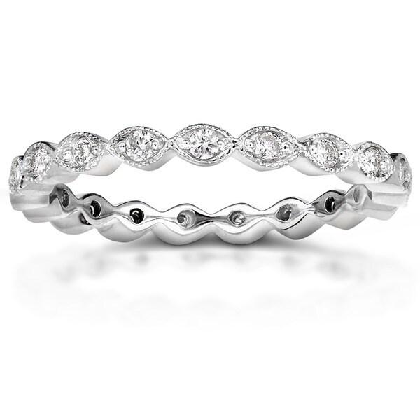 Annello by Kobelli 14k Gold 1/3ct TDW Stackable Art Deco Eternity Diamond Ring (H-I, I1-I)