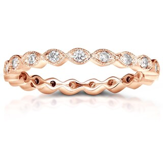 Annello by Kobelli 14k Gold 1/3ct TDW Stackable Vintage Milgrain Pattern Eternity Diamond Ring (More options available)