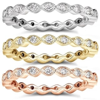 Annello 14k Gold 1/3ct TDW Stackable Art Deco Eternity Diamond Ring (H-I, I1-I2)