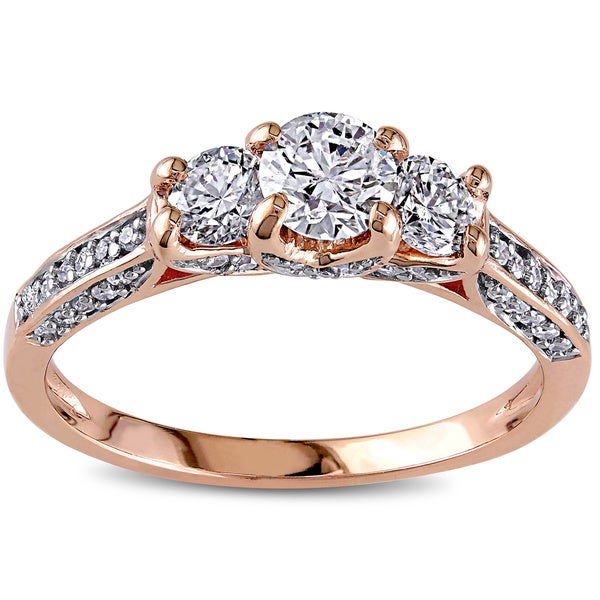 Miadora Signature Collection 10k Pink Gold 1ct TDW Diamond 3-Stone Ring (G-H, I1-I2)