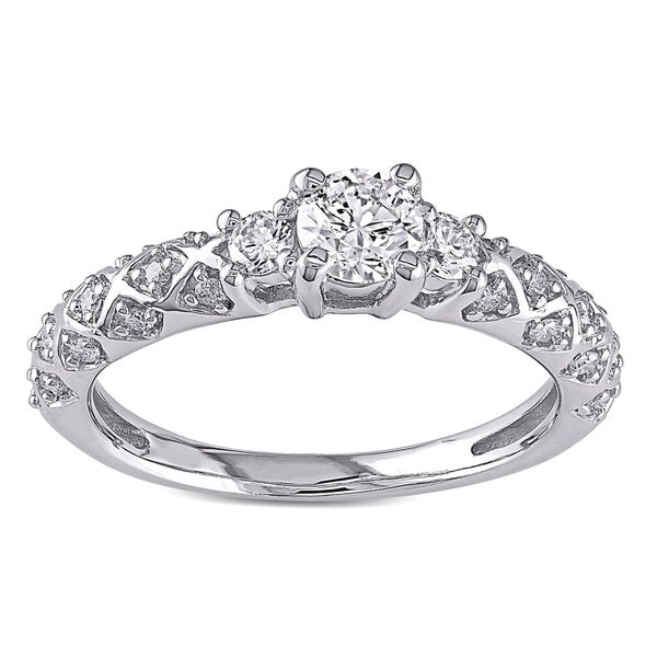Miadora Signature Collection 14k White Gold 3/4ct TDW Diamond 3-stone Ring