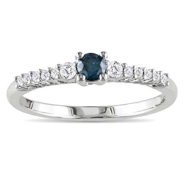 Miadora Sterling Silver 1/3ct TDW Blue and White Diamond Ring