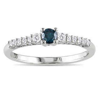 Miadora Sterling Silver 1/3ct TDW Blue and White Diamond Ring (G-H, I2-I3)