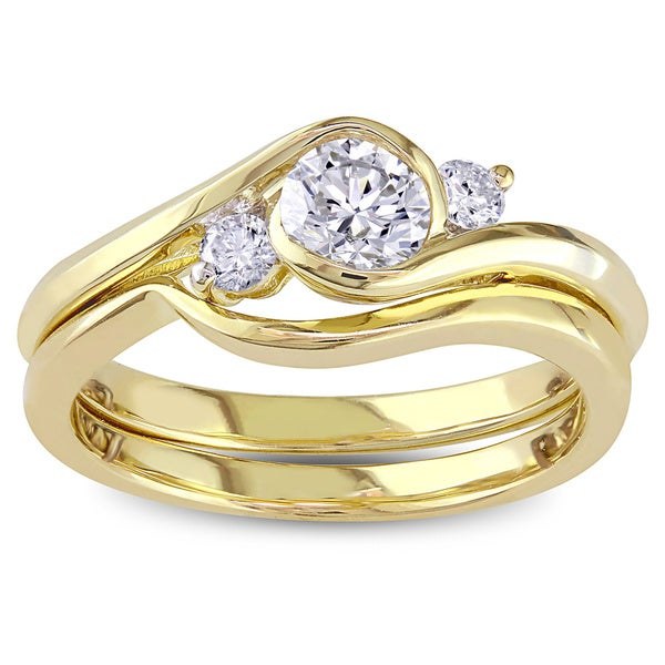 Miadora Signature Collection 10k Yellow Gold 1/2ct TDW Bezel-set Diamond Engagement Ring and Wedding Band Set (G-H, I1-I2)