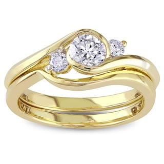 Miadora Signature Collection 10k Yellow Gold 1/2ct TDW Bezel-set Diamond Engagement Ring and Wedding Band Set (G-H, I1-I2)
