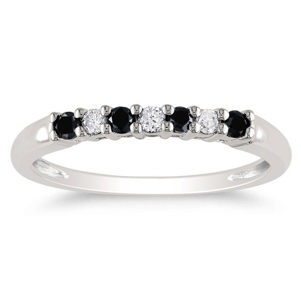 Miadora 10k White Gold 1/4ct TDW Black-and-white Prong-set Diamond Ring