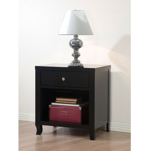 Aria Black 1-drawer Nightstand