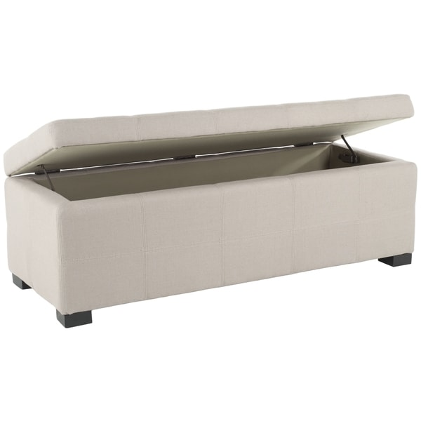 Attractive Safavieh Madison Beige Linen Storage Bench   Free Shipping Today    Overstock.com   14063011