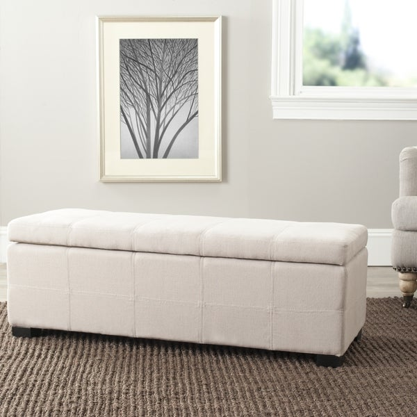 Safavieh Madison Beige Linen Storage Bench