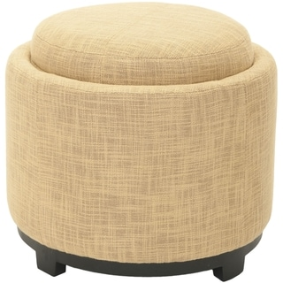Safavieh Broadway Single Tray Gold Viscose Storage Round Ottoman