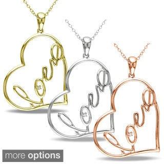 Miadora Sterling Silver Diamond Accent 'Love' Heart Necklace