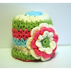 Knitnut by JL Child's Cotton Crocheted Multi-Color Flower Hat