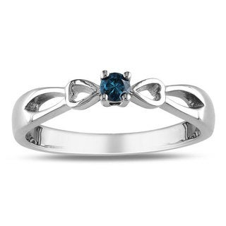Miadora Sterling Silver 1/10ct TDW Blue Diamond Promise Ring