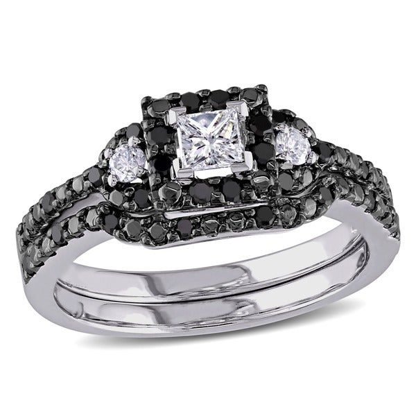 Miadora 10k White Gold 1/2ct TDW Princess and Round-cut Black and White Diamond Halo Bridal Ring Set