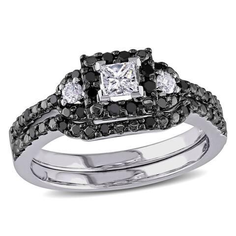 Miadora 10k White Gold 1/2ct TDW Princess and Round-cut Black and White Diamond Halo Bridal Ring Set
