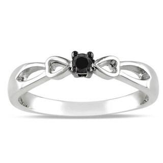 Miadora Sterling Silver Round-cut 1/10ct TDW Black Diamond Promise Ring