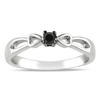 Miadora Sterling Silver Round-cut 1/10ct TDW Black Diamond Promise Ring