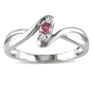 Miadora Sterling Silver 1/10ct TDW Pink and White Diamond Ring