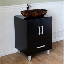 Black 22-inch Birch Wood Single Bathroom Vanity and Sink