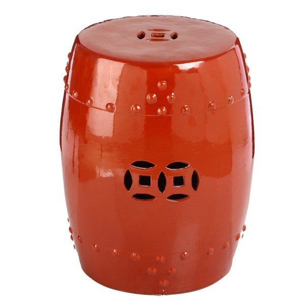 Handmade Red Cinnabar Porcelain Garden Stool (China)