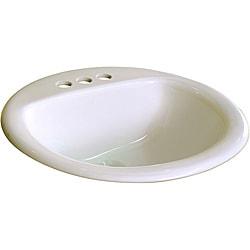 Fine Fixtures Ceramic 19-inch Biscuit Bathroom Drop in Self Rimming Sink