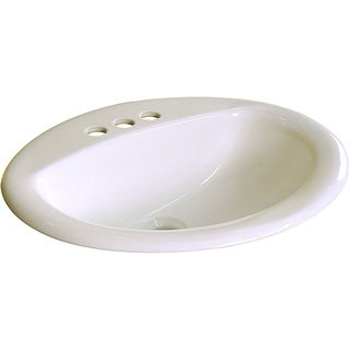 Fine Fixtures Ceramic Drop-In 20.5-inch Biscuit Drop-in Self Rimming Bathroom Sink