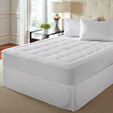 LoftWorks Microplush Extra Soft Plush Top Mattress Pad with Deep Skirt - White