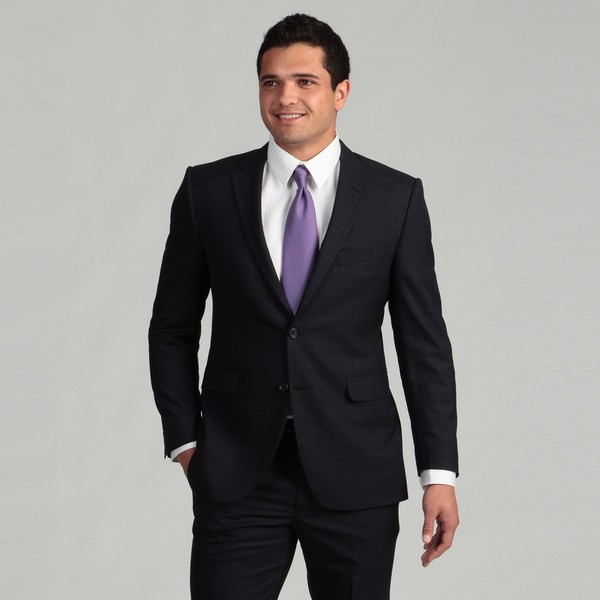 Adolfo Men's 2-button Navy Blue Linen Suit