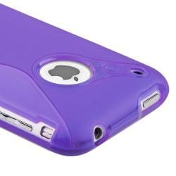 Purple TPU Case/ LCD Protector/ MYBAT Car Charger for Apple iPhone 3GS