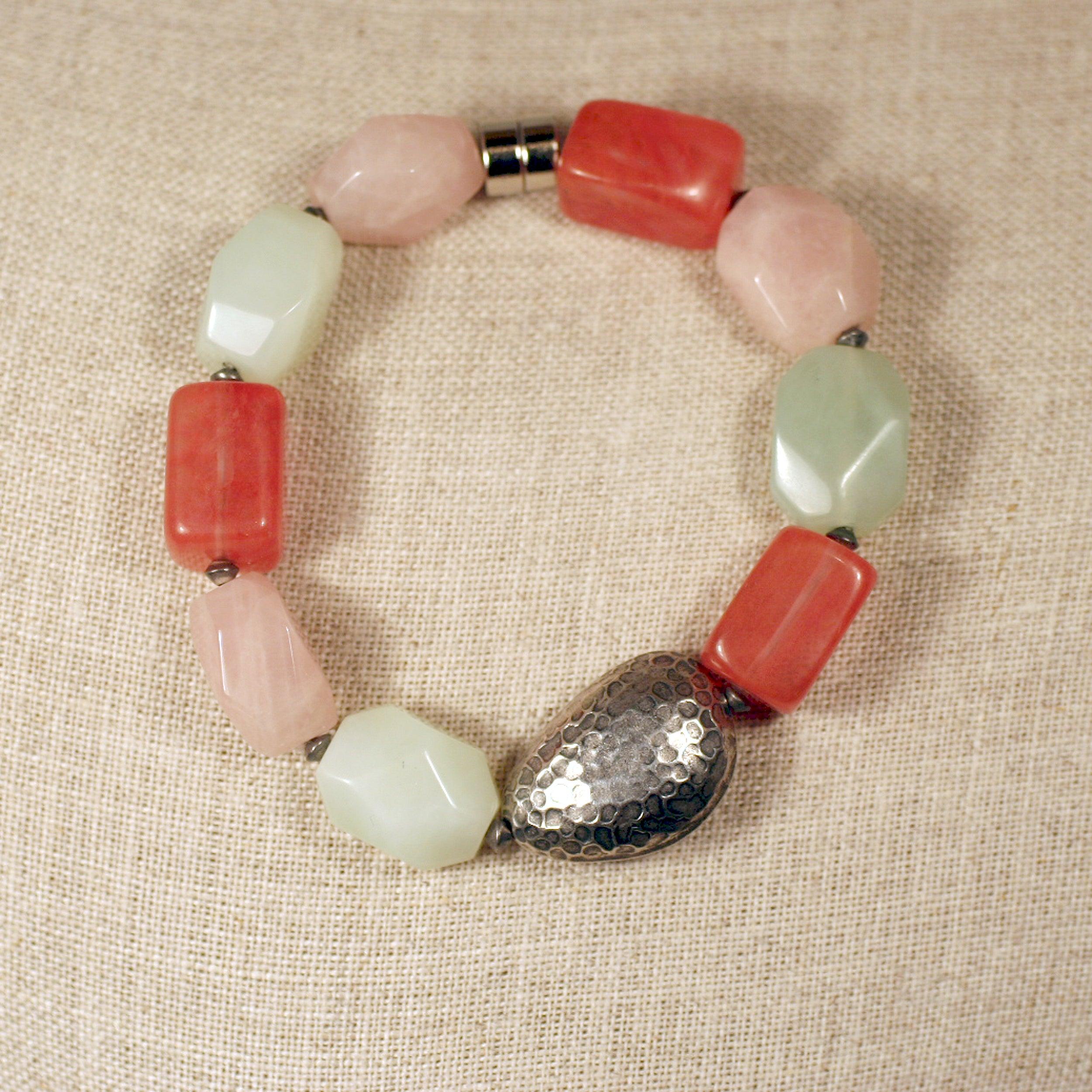 Peyote Bird Designs Sterling Silver Colorful Jade Bracelet