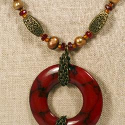Peyote Bird Designs Pearl Bead Donut Tassel Necklace (5-7 mm)(China)
