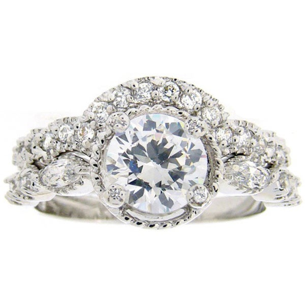 Icz Stonez Sterling Silver Cubic Zirconia Ring Set (2 3/4ct TCW)