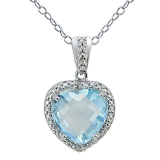 Glitzy Rocks Silver Blue Topaz and Diamond Necklace (4 1/5ct TGW)