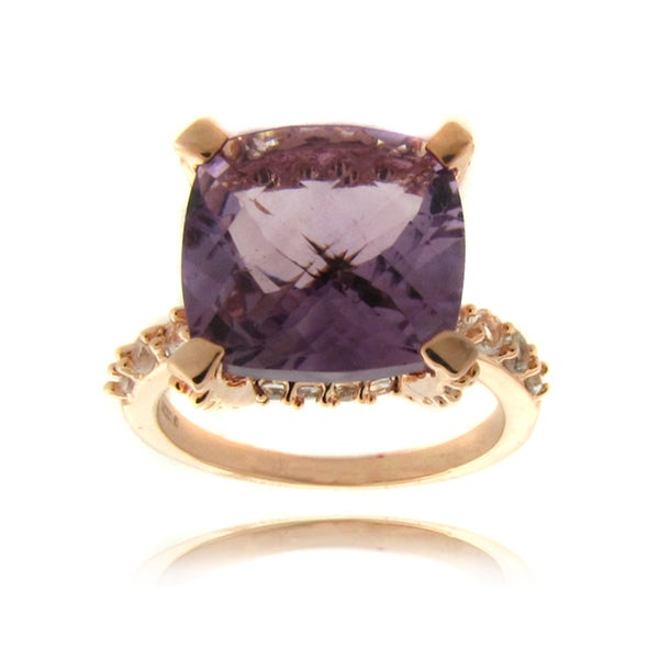 Dolce Giavonna Rose 14k Gold Overlay Amethyst and White Topaz Ring (6ct TGW)