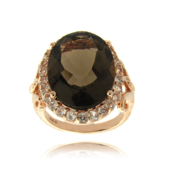 Dolce Giavonna Rose 14k Gold Overlay Smokey Quartz and White Topaz Ring (7ct TGW)