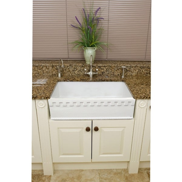 Farmhouse Fireclay Sink : Fine Fixtures Fireclay Lichfield 28.75-inch Farmhouse Kitchen Sink ...